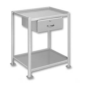 "Pucel™ TU-2324-2-1D Mobile Table 2 Shelves 1 Drawer 3"" Casters 24 x 23"