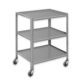 "Pucel™ TU-2436-3 Mobile Table 3 Shelves with 3"" Casters - 36""L x 24""W"