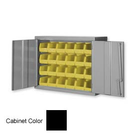 "Pucel Wall Bin Cabinet WC-4827 - 48""W x 14""D x 27""H,  Black With 32 Yellow Bins"