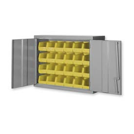 "Pucel Wall Bin Cabinet WC-4827 - 48""W x 14""D x 27""H,  Gray With 32 Yellow Bins"