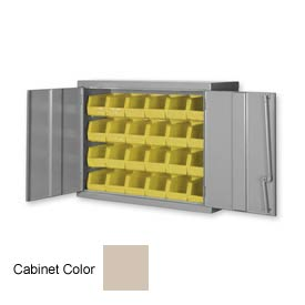 "Pucel Wall Bin Cabinet WC-4827 - 48""W x 14""D x 27""H,  Putty With 32 Yellow Bins"