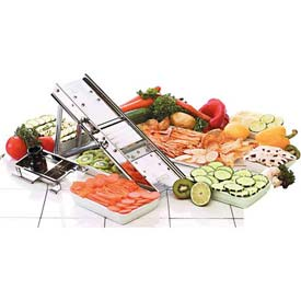 "Stainless Steel Mandolin Slicer Only W/38 Blade Set, No Pusher, Folded Dimensions: 12""L X 5""W X 2""H"