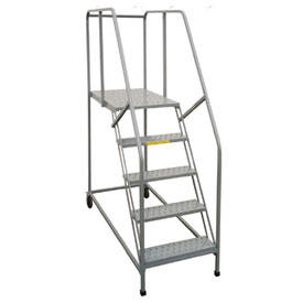 "P.W. Platforms 4 Step, 24""W x 21""D Steel Rolling Single Entry Platform - 4SWP2421G"