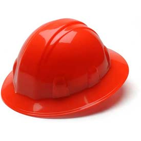 Hi Vis Orange Full Brim Style 4 Point Ratchet Hard Hat - Pkg Qty 12