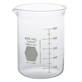 Qorpak 238575 KIMAX Griffin Beakers, 32 x 41mm, 20mL, Clear, Case of 48 by