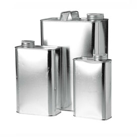 """Qorpak MET-03043 1 Quart Metal Oblong F-Style Can with 1-1/4"""" Alpha Cap & Innerseal, Case of 24"""