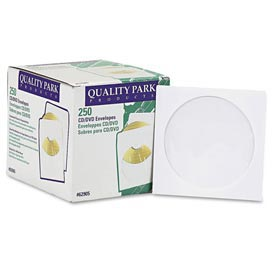 Quality ParkTM CD/DVD Sleeves, 5x5, 24lb, White, 250/Box