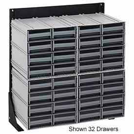 "Quantum QIC-124-161 24""H Single Sided Floor Stand with 64 Gray Drawer Interlocking Storage Cabinet"