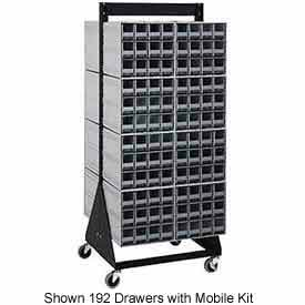 """Quantum QIC-224-64 24""""H Double Sided Floor Stand with 48 Gray Drawer Interlocking Storage Cabinet"""