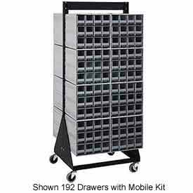"""Quantum QIC-248-161 48""""H Double Sided Floor Stand with 256 Gray Drawer Interlocking Storage Cabinet"""