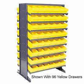 """Quantum QPRD-501 Double Sided Rack 24""""x36""""x60"""" with 144 Gray Euro Drawers"""