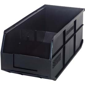"Quantum Plastic Stackable Shelf Bin SSB463 8-1/4""W x 18""D x 7""H, Black - Pkg Qty 6"