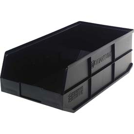 "Quantum Plastic Stackable Shelf Bin SSB485 11""W x 20-1/2""D x 7""H, Black - Pkg Qty 6"