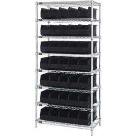 Quantum WR8-441 Chrome Wire Shelving with 35 SSB441 Stackable Shelf Bins Black, 36x14x74