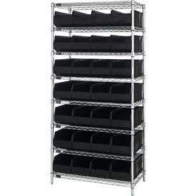 Quantum WR8-443 Chrome Wire Shelving with 28 SSB443 Stackable Shelf Bins Black, 36x14x74