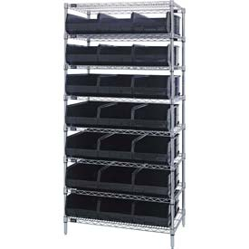 Quantum WR8-445 Chrome Wire Shelving with 21 SSB445 Stackable Shelf Bins Black, 36x14x74