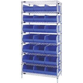 Quantum WR8-445 Chrome Wire Shelving with 21 SSB445 Stackable Shelf Bins Blue, 36x14x74