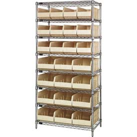 Quantum WR8-483485 Chrome Wire Shelving w/12 SSB483, 12 SSB485 Stackable Shelf Bins Ivory, 36x21x74