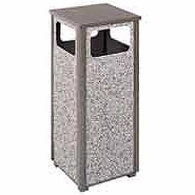 "Rubbermaid® FGR12 Aspen 12 Gallon Flat Top Waste Receptacle, Bronze/Gray, 13-1/2"" Sq. x 32"" H"