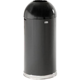 Rubbermaid® R1536EOTGL 15 Gallon Round Open Top Trash Can with Galvanized Liner, Black