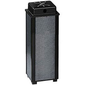 "Hinged Top Urn And Waste Receptacle, Black/Steel, 29 gal., 21""Sq x 43""H"