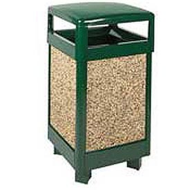 """Rubbermaid® FGR36HT Aspen 29 Gallon Hinged Top Garbage Can, Green/Brown, 21"""" Sq. x 40"""" H"""
