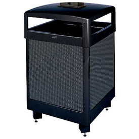 "Hinged Top Urn And Waste Receptacle, Black/Steel, 38 gal., 26""Sq x 43""H"
