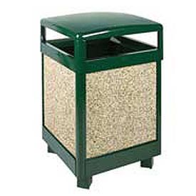 """Rubbermaid® FGR38HT Aspen 38 Gallon Hinged Top Garbage Can, Green/Brown, 26"""" Sq. x 40"""" H"""
