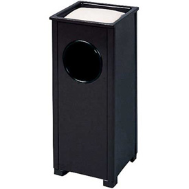 """Sand Top Urn And Trash Container, Black, 2.5 gal., 10""""Sq x 24""""H"""