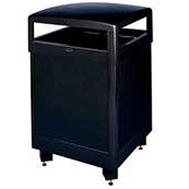 "Rubbermaid® R48HTS 48 Gallon Hinged Top Trash Container, Black, 26"" Sq. x 40"" H"