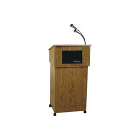 "Mobile Podium / Lectern with AV Cart, 21""W x 18""D x 33""H, Medium Oak"