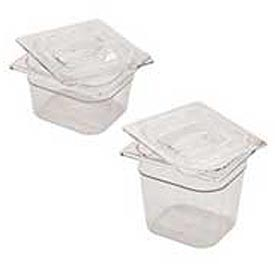 Rubbermaid G106P00 - Clear Cold Food Containers, 1/6 Size, 2-1/2 Quarts, Qty 6