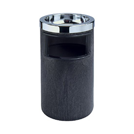 "Rubbermaid Smoking Urn W/ Ashtray & Trash Metal Liner 12-1/2"" Dia. X 19-1/2"" H, Black - RCP258600BLA"