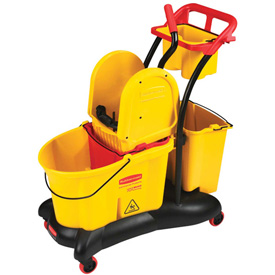 Rubbermaid Wavebrake® 7777 Mopping Trolley With Downward Pressure Wringer, Yellow