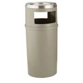 Rubbermaid 25 Gallon Plastic Ash/Trash Container w/Doors, Beige - FG818288BEIG