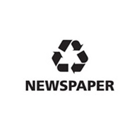 "Recycling Decals ""Newspaper"" - Black 8-1/4""W x 4-3/4""H Pkg Qty 10 - Pkg Qty 10"