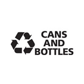 "Recycling Decals ""Cans And Bottle"" - White 8-3/4""W x 3-1/2""H Pkg Qty 10 - Pkg Qty 10"