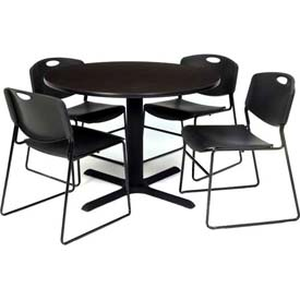 "36"" Round Table with Wide Plastic Chairs - Mocha Walnut Table / Black Chairs"