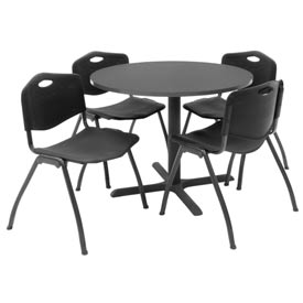 "36"" Round Table with Plastic Chairs - Mocha Walnut Table / Black Chairs"