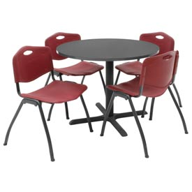 """Regency Table and Chair Set - 36"""" Round - Mocha Walnut Table / Burgundy Plastic Chairs"""