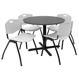 """36"""" Round Table with Plastic Chairs - Mocha Walnut Table / Gray Chairs"""