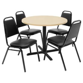 "Regency Table and Chair Set - 42"" Round - Beige Table / Black Vinyl Chairs"