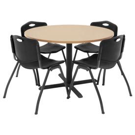 "42"" Round Table with Plastic Chairs - Beige Table / Black Chairs"