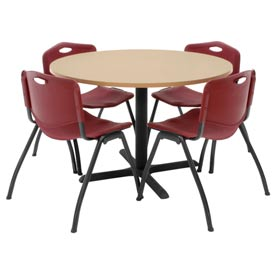 "42"" Round Table with Plastic Chairs - Beige Table / Burgundy Chairs"
