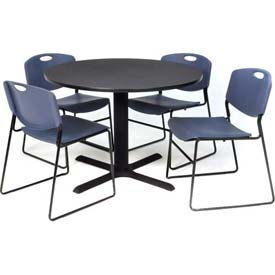 "Regency Table and Chair Set - 42"" Round - Gray Table / Blue Wide Plastic Chairs"