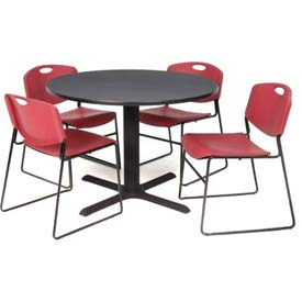 "42"" Round Table with Wide Plastic Chairs - Gray Table / Burgundy Chairs"