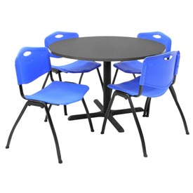 "42"" Round Table with Plastic Chairs - Gray Table / Blue Chairs"