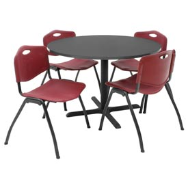 "42"" Round Table with Plastic Chairs - Gray Table / Burgundy Chairs"
