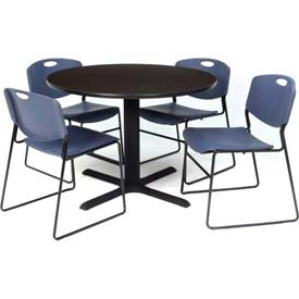 "42"" Round Table with Wide Plastic Chairs - Mocha Walnut Table / Blue Chairs"