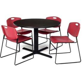 """42"""" Round Table with Wide Plastic Chairs - Mocha Walnut Table / Burgundy Chairs"""